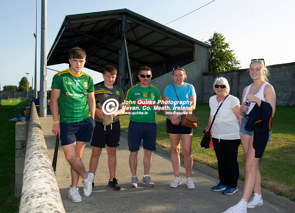 20-07-21. Meath v Down - All-Ireland U-20 B (Richie McElligott Cup) Semi-Final at Clan na Gael, Dundalk.<br /> Supporting Meath U-20 team in Dundalk from left, Joey Cole, Alex Cole, Neil Cole, Ann Cole, Mary Cole and Bryna Cassidy all from Trim.<br /> Photo: John Quirke / www.quirke.ie<br /> ©John Quirke Photography, 16 Proudstown Road, Navan. Co. Meath. (info@quirke.ie / 046-9028461 / 087-2579454).