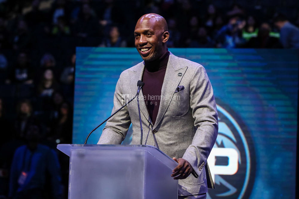 Feb 15, 2018; Minneapolis, MN, USA; Former player Chauncey Billups speaks during a ceremony honoring former Minnesota Timberwolves head coach Flip Saunders prior to a game against Los Angeles Lakers at Target Center. Mandatory Credit: Brace Hemmelgarn-USA TODAY Sports