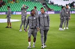 England's Raheem Sterling (left) and Ross Barkley inspect the pitch prior to the Nations League match at Benito Villamarin Stadium, Seville.