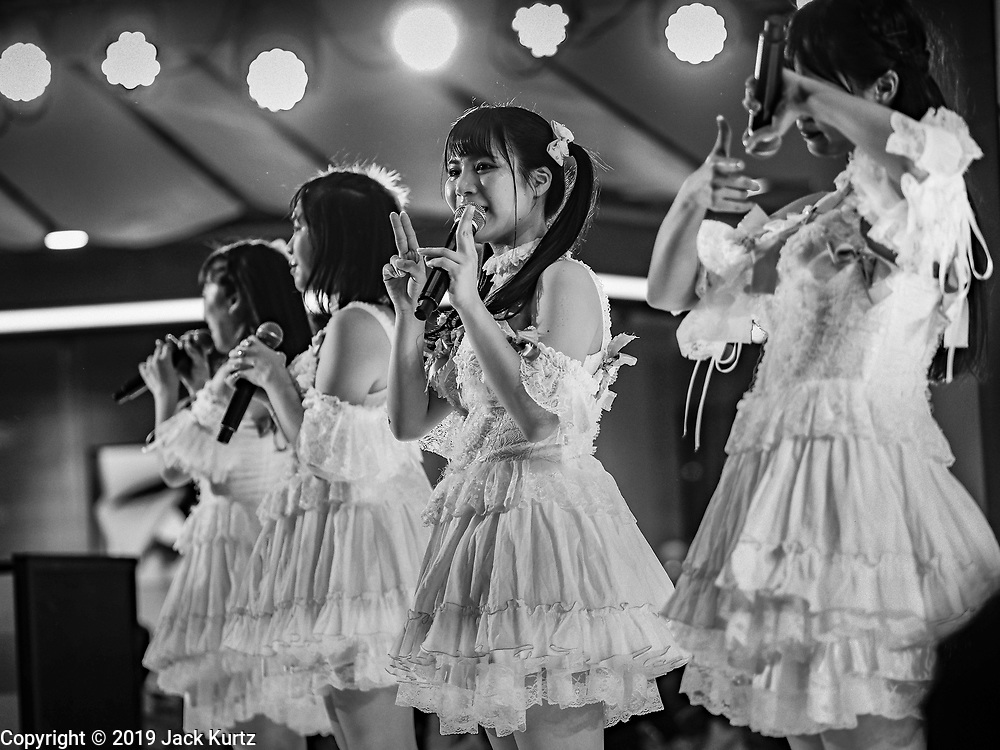 "25 JANUARY 2019 - BANGKOK, THAILAND: Members of the band ""PopUp"" perform during a ""J Pop"" (Japanese Pop music) concert at the Japan Expo in Central World, a shopping mall in Bangkok.      PHOTO BY JACK KURTZ"