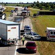 Emergency personnel on the scene of a multi-vehicle collision involving a tractor trailer on I-280 near Walbridge Road in Lake Township, Ohio, on Friday, August 3, 2018. THE BLADE/KURT STEISS