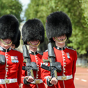 Changing of the Guard at Buckingham Palace Grenadier Guards Marching 169-104236677x Grenadier Guards taking part in the Changing of the Queen's Guard ceremony at Buckingham Palace in London.