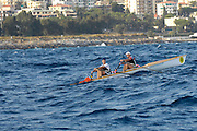 San Remo, ITALY,  Qualification Races, men's double sculls sculls M2X,  rowing on the open sea.  2008 FISA Coastal World Championships. Friday 17/10/2008. [Photo, Peter Spurrier/Intersport-images] Coastal Rowing Course: San Remo Beach, San Remo, ITALY