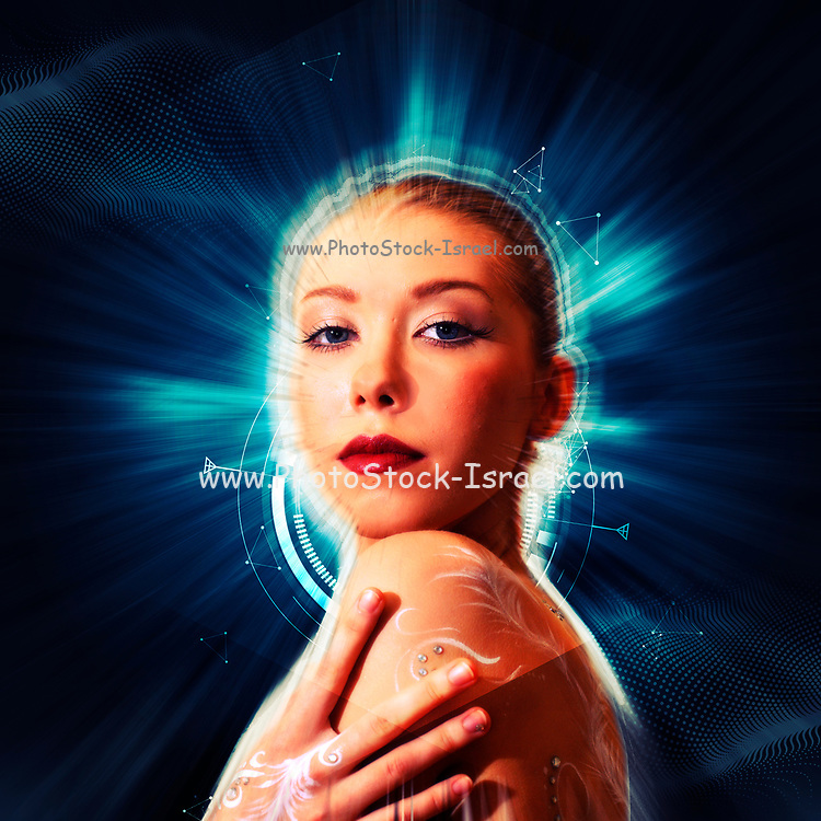 Digitally enhanced image of a blond model in her 20s with white body paint on her back looking at the camera over her left shoulder