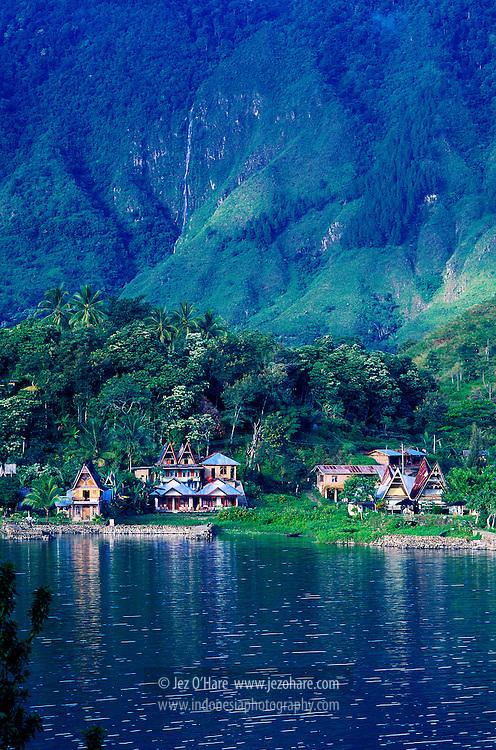 Tuk Tuk village & waterfall, Samosir Island, Lake Toba, North Sumatra, Indonesia.