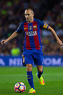 Andres Iniesta control the ball during the La Liga match between Barcelona and Atletico Madrid at Camp Nou, Barcelona, Spain on 21 September 2016. Photo by Eric Alonso.
