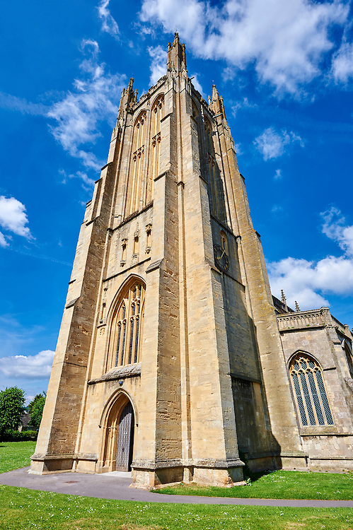 15th century Perpendicular Gothic bell tower of the Church of St Cuthbert, Wells, Somerset, England .<br /> <br /> Visit our MEDIEVAL PHOTO COLLECTIONS for more   photos  to download or buy as prints https://funkystock.photoshelter.com/gallery-collection/Medieval-Middle-Ages-Historic-Places-Arcaeological-Sites-Pictures-Images-of/C0000B5ZA54_WD0s