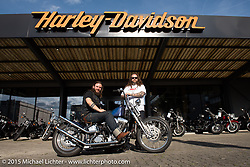 Vinz Guntern on his custom Softail in front of Harley-Davidson Basel after returning the group ride loaner bikes after the Art and Wheels art and motorcycle show in Basel, Switzerland. May 17, 2015. Photography ©2015 Michael Lichter.