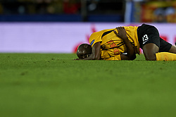 November 7, 2018 - Valencia, Spain - Moumi Ngamaleu of Young Boys lies injured on the pitch during the Group H match of the UEFA Champions League between Valencia and Young Boys at Mestalla Stadium, Valencia on November 07 of 2018. (Credit Image: © Jose Breton/NurPhoto via ZUMA Press)