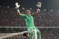 October 8, 2017 - Alexandria, Egypt - Egypt's Essam Elhadry celebrating World Cup access and victory over Congo during the 2018 World Cup group E qualifying soccer match at Borg El Arab Stadium in Alexandria, Egypt, Sunday, Oct. 8, 2017. (Credit Image: © Islam Safwat/NurPhoto via ZUMA Press)
