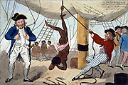 John Kimber, Bristol ship's captain, holding whip, in 1792  tried for murder of female slave while punishing her for failing to eat. Found not guilty but case used  by Abolitionist to highlight cruelty of slave trade. I Cruickshank, 1792.