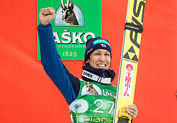 Noriaki Kasai (JPN) celebrates at trophy ceremony after 3rd place during Ski Flying Hill Men's Individual Competition at Day 4 of FIS Ski Jumping World Cup Final 2017, on March 26, 2017 in Planica, Slovenia. Photo by Vid Ponikvar / Sportida