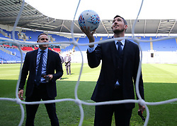 Assistant Referee Andrew Fox tests the goal line technology before kick off