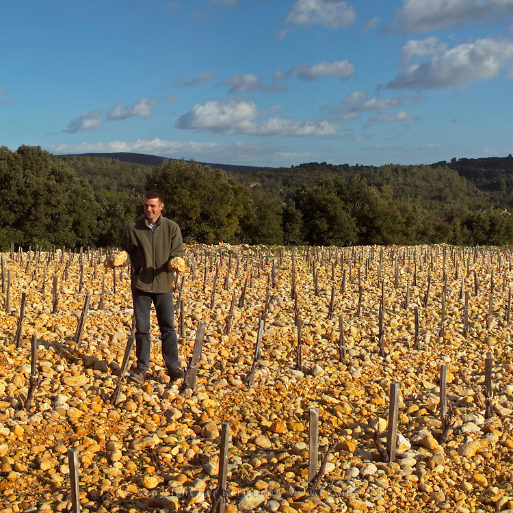 """Frédéric Pourtalié of Dom Montcalmes with big rocks called """"tetes de mort"""" head of dead people or skulls. Vineyard of Domaine Saint Sylvestre in Puechabon. Terrasses de Larzac. Languedoc. Vines trained in Gobelet pruning. Young Mourvedre grape vine variety. Terroir soil. Owner winemaker. France. Europe. Vineyard. Soil with stones rocks. Galets."""