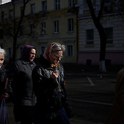 ODESSA, UKRAINE - March 16, 2014: A anti-war group marches the streets of Odessa in protest against the referendum in Crimea. CREDIT: Paulo Nunes dos Santos