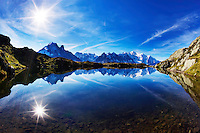 Mountain impression Lacs des Cheserys with Aiguilles de Chamonix - Europe, France, Haute Savoie, Aiguilles Rouges, Lacs des Chesery - Forenoon - September 2008