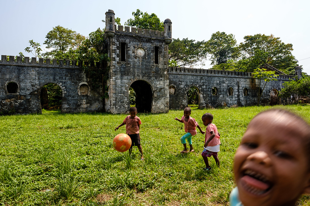 Children playing soccer at Roça Sundy, in Príncipe island