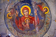 Fresco of the 12th century Byzantine Holy Church of Nea Megali Panagia, restored 1727, Thsalonica, Greece .<br /> <br /> Visit our ANCIENT GREEKS PHOTO COLLECTIONS for more photos to download or buy as wall art prints https://funkystock.photoshelter.com/gallery-collection/Ancient-Greeks-Art-Artefacts-Antiquities-Historic-Sites/C00004CnMmq_Xllw .<br /> <br /> Visit our MEDIEVAL PHOTO COLLECTIONS for more   photos  to download or buy as prints https://funkystock.photoshelter.com/gallery-collection/Medieval-Middle-Ages-Historic-Places-Arcaeological-Sites-Pictures-Images-of/C0000B5ZA54_WD0s