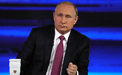 June 15, 2017 - Moscow, Russia - Russian President VLADIMIR PUTIN at the Gostiny Dvor studio during the annual Direct Line with Vladimir Putin broadcast live by Russian TV channels and radio stations. (Credit Image: © Russian Look via ZUMA Wire)