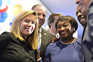 Garden City, New York, USA. November 6, 2018. Nassau County Democrats watch Election Day results at Garden City Hotel, Long Island. On stage were elected officials and candidates who won election, including, at center in blue, ANDREA STEWART-COUSINS, who represents District 35 in the New York State Senate, serves as Senate Democratic Leader, and, at left, Hempstead Town Supervisor LAURA GILLEN