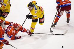 Matevz Erman of Acroni Jesenice vs David Rodman of Vienna during  ice-hockey match between HK Acroni Jesenice and EV Vienna Capitals of 44th Round of EBEL league, on January 30, 2011 in Arena Podmezkla, Jesenice, Slovenia. Acroni Jesenice defeated Vienna 4-3. (Photo By Vid Ponikvar / Sportida.com)