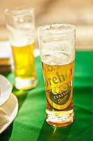 View of Dreher Beer, and Dreher Beer glasses at the Ambassador Terasz, Budapest, Hungary.