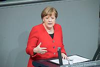 21 MAR 2019, BERLIN/GERMANY:<br /> Angela Merkel, CDU Bundeskanzlerin, waehrend einer  Regierungserklaerung zum Europaeischen Rat, Plenum, Deutscher Bundestag<br /> IMAGE: 20190321-01-032