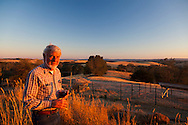 Work Family Guest Ranch, San Miguel, California offers horseback rides through the hills on the 12,000 acre property. George Work, owner of the property, enjoying a glass of wine during a glorious sunset