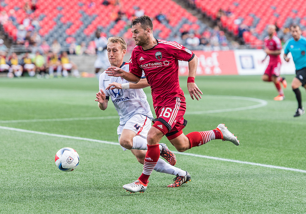 Ottawa Fury FC forward Thomas Stewart (#16) during the NASL match between the Ottawa Fury FC and Indy Eleven FC at TD Place Stadium in Ottawa, ON. Canada on Aug. 28, 2016 with the game finishing in a 1-1 draw.<br /> <br /> PHOTO: Steve Kingsman/Freestyle Photography