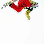 Canadian National Snowboard Team member Jeff Batchelor competes during qualification for the 2009 LG Snowboard FIS World Cup at Cypress Mountain, British Columbia, on February 16th, 2009. Batchelor had a strong finish, placing 8th overal in the field of 62.