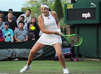 Tennis - 2017 Wimbledon Championships - Week One, Monday [Day One]<br /> <br /> Women's Singles, First Round match<br /> <br /> Jelena Ostapenko (LAT) vs Aliaksandra Sasnovich (BLR) <br /> <br /> Jelena Ostapenko on court 18<br /> <br /> COLORSPORT/ANDREW COWIE