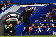 Chelsea Manager Antonio Conte in action. The Emirates FA Cup, 3rd round replay match, Chelsea v Norwich City at Stamford Bridge in London on Wednesday 17th January 2018.<br /> pic by Steffan Bowen, Andrew Orchard sports photography.