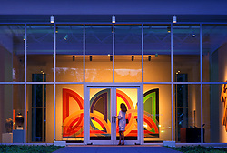 Stock photo of a woman entering the Menil Collection in Houston Texas