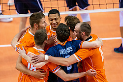 Thijs Ter Horst of Netherlands, Fabian Plak of Netherlands, Wouter Ter Maat of Netherlands in action during the CEV Eurovolley 2021 Qualifiers between Croatia and Netherlands at Topsporthall Omnisport on May 16, 2021 in Apeldoorn, Netherlands