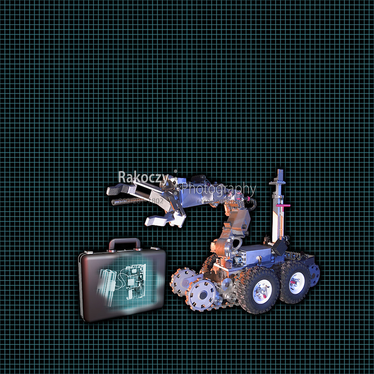 A photo-3D composite illustration depicting a police bomb detection robot analyzing a suspicious briefcase.