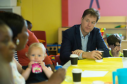 Former Deputy Prime Minister Nick Clegg at the Oasis Playspace, Lambeth, following the launch in central London of a Liberal Democrats campaign poster attacking the Conservatives' school meals policy.
