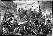 Second Anglo-Afghan War (1878-1880): Attack on the British Residency, Cabul (Kabul) and the massacre of its occupants including the Resident, Sir Louis Cavagnari, 3 September 1879. Wood engraving c.1885