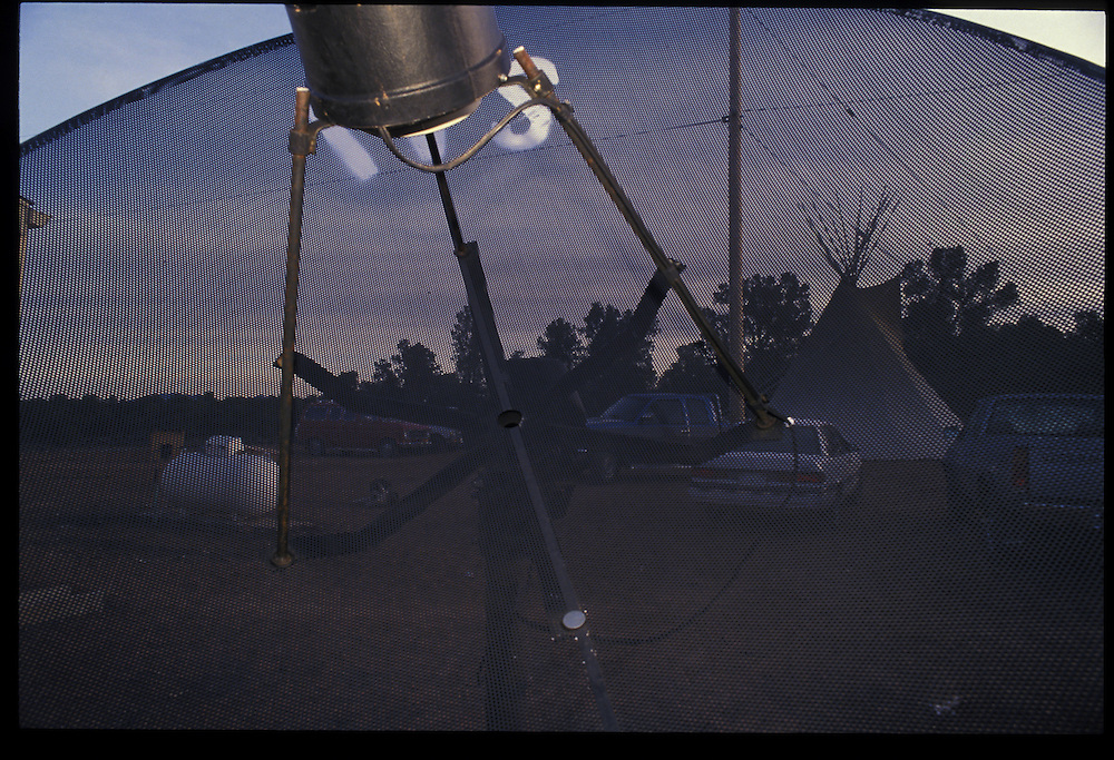 """The teepee of a """"roadman"""" next to the Harvey family compound in Tsaile, Arizona.   1993."""