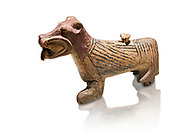 Hittite Terra cotta lion shaped ritual vessel - 16th century BC - Hattusa ( Bogazkoy ) - Museum of Anatolian Civilisations, Ankara, Turkey. Against white background .<br />  <br /> If you prefer to buy from our ALAMY STOCK LIBRARY page at https://www.alamy.com/portfolio/paul-williams-funkystock/hittite-art-antiquities.html  - Type Hattusa into the LOWER SEARCH WITHIN GALLERY box. Refine search by adding background colour, place, museum etc<br /> <br /> Visit our HITTITE PHOTO COLLECTIONS for more photos to download or buy as wall art prints https://funkystock.photoshelter.com/gallery-collection/The-Hittites-Art-Artefacts-Antiquities-Historic-Sites-Pictures-Images-of/C0000NUBSMhSc3Oo