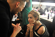 Model Back Stage at the Rebecca Minkoff S/S 2014 fashion show at The Theatre, Lincoln Center on September 06, 2013 in New York City.