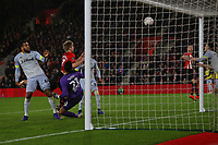 Football - 2018 / 2019 FA Cup - Third Round Replay: Southampton vs. Derby County<br /> <br /> Southampton's Stuart Armstrong pounces to head in a goal line clearance to open the scoring at St Mary's Stadium Southampton<br /> <br /> COLORSPORT/SHAUN BOGGUST