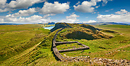 A milecastle fort on Hadrians Wall near Houseteads Roman Fort, Vercovicium, A UNESCO World Heritage Site, Northumberland, England, UK