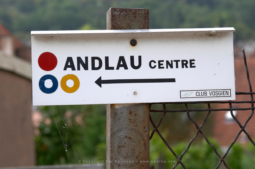 walking path sign andlau alsace france