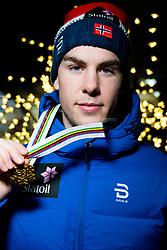 January 31, 2018 - Goms, SWITZERLAND - 180131 Mattis Stenshagen of Norway poses with the gold medal for the men's 15km classic technique interval start during the FIS U23 Cross-Country World Ski Championships on January 31, 2018 in Gluringen..Photo: Vegard Wivestad GrÂ¿tt / BILDBYRN / kod VG / 170092 (Credit Image: © Vegard Wivestad Gr¯Tt/Bildbyran via ZUMA Press)