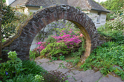 Looking through the circular arch towards the azaleas and wisteria by the house at Greencombe Gardens, Somerset