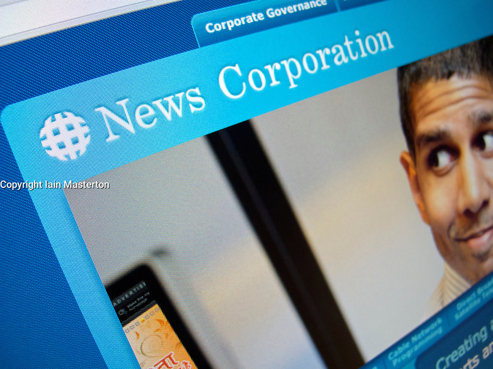 Detail of website homepage of News Corporation