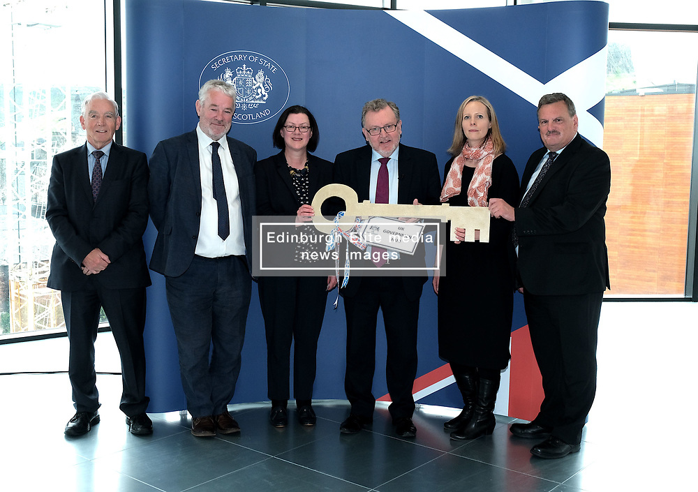 Scottish Secretary of State David Mundell received the keys to the new UK Government building in Edinburgh.<br /> <br /> The new hub is due to open in early 2020 and bring together nearly 3,000 UK Government civil servants.<br /> <br /> Pictured: (l to r) Seamus McAleer (founder & chairman, McAleer and Rushe), Clive Wilding (Property Director, Artisan Real Estate), Gillian McGregor (Director, Office of the Secretary of State for Scotland), David Mundell MP, Victoria Bowman (Deputy Director, Office of the Secretary of State for Scotland) and Neville Myers (Deputy Director, Government Property Office)<br /> <br /> Alex Todd | Edinburgh Elite media