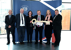 Scottish Secretary of State David Mundell received the keys to the new UK Government building in Edinburgh.<br /> <br /> The new hub is due to open in early 2020 and bring together nearly 3,000 UK Government civil servants.<br /> <br /> Pictured: (l to r) Seamus McAleer (founder & chairman, McAleer and Rushe), Clive Wilding (Property Director, Artisan Real Estate), Gillian McGregor (Director, Office of the Secretary of State for Scotland), David Mundell MP, Victoria Bowman (Deputy Director, Office of the Secretary of State for Scotland) and Neville Myers (Deputy Director, Government Property Office)<br /> <br /> Alex Todd   Edinburgh Elite media