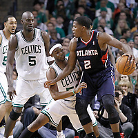 10 May 2012: Boston Celtics point guard Keyon Dooling (51) defends on Atlanta Hawks shooting guard Joe Johnson (2) during the Boston Celtics 83-80 victory over the Atlanta Hawks, in Game 6 of the Eastern Conference first-round playoff series, at the TD Banknorth Garden, Boston, Massachusetts, USA.