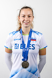 Pia Blazic of Slovenia with silver medals after the volleyball match between National team of Turkey and Slovenia in Gold Medal game of Womens U23 World Championship 2017, on September 17, 2017 in SRC Stozice, Ljubljana, Slovenia. Photo by Morgan Kristan / Sportida